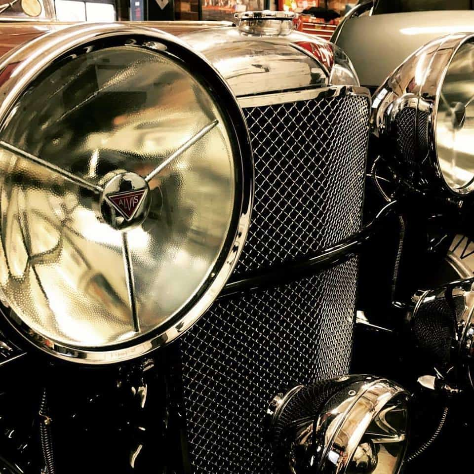 Refurbished Alvis headlights