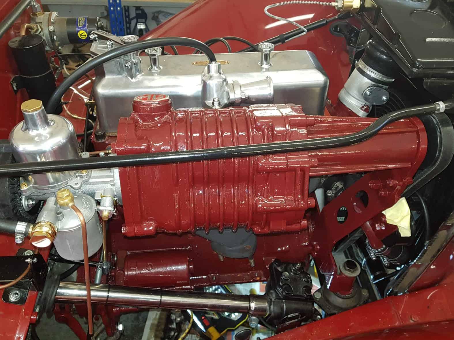 MG TC supercharging engine