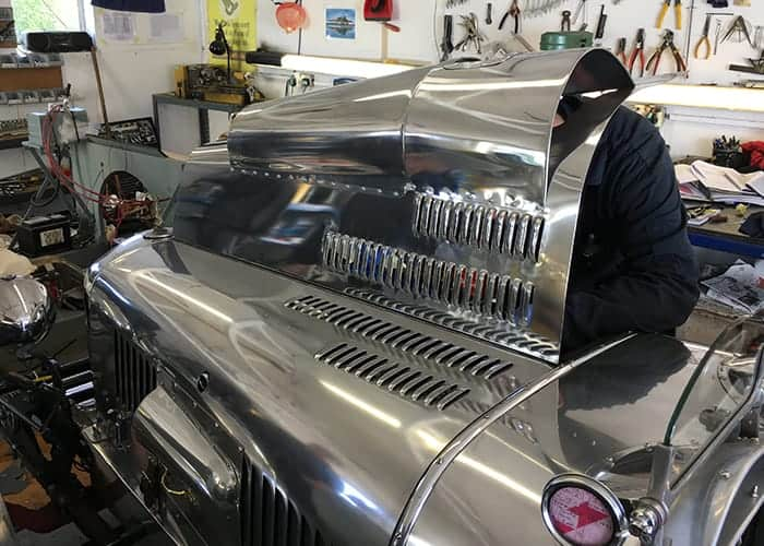 Alvis new bonnet being fitted and designed