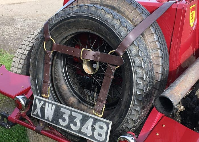 New leather wheel straps for vintage car