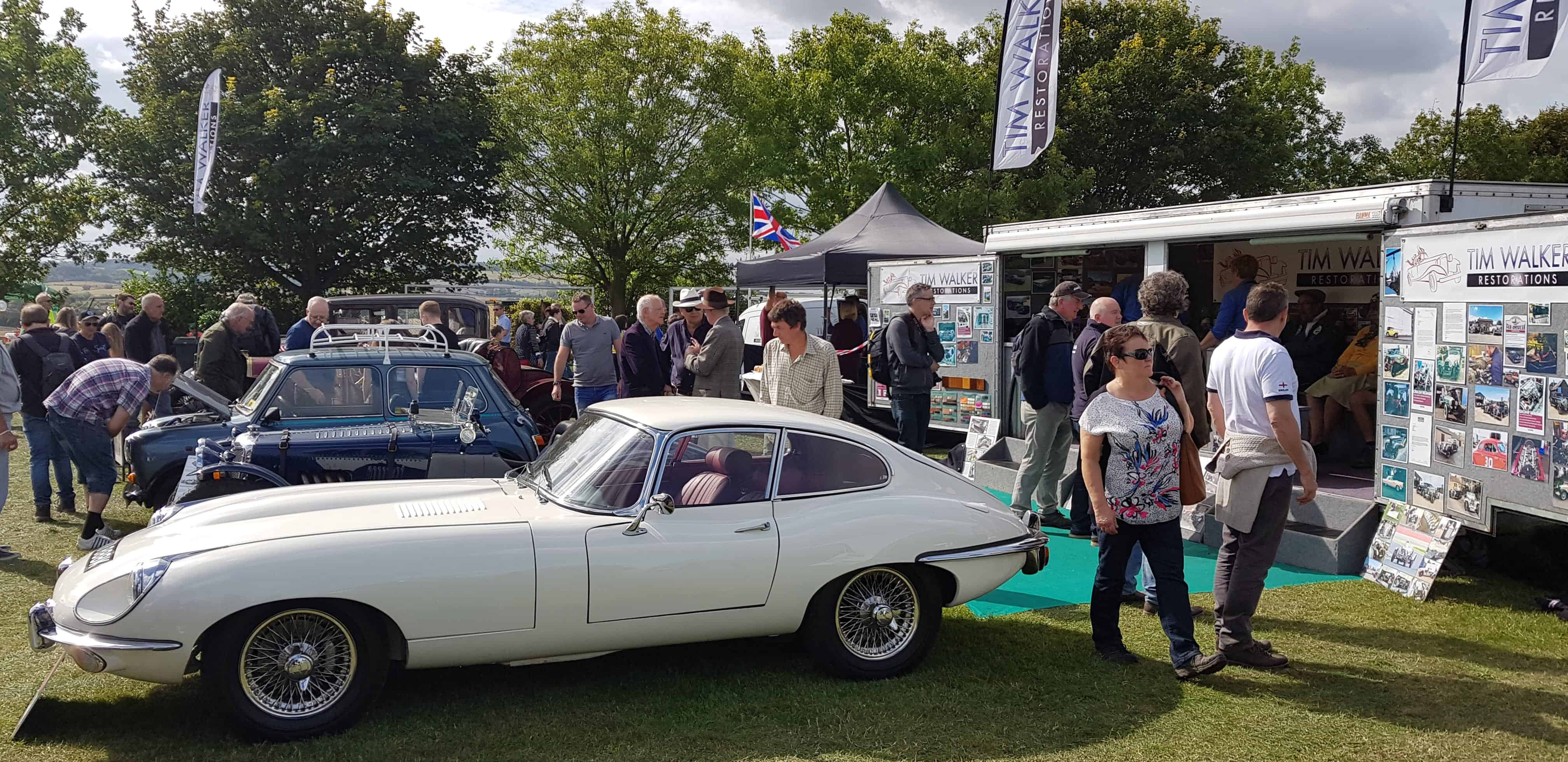 White E Type Jaguar at Kop Hill Climb