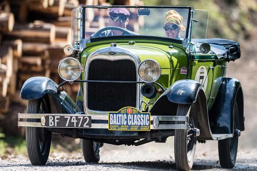 Old green Ford Rallying