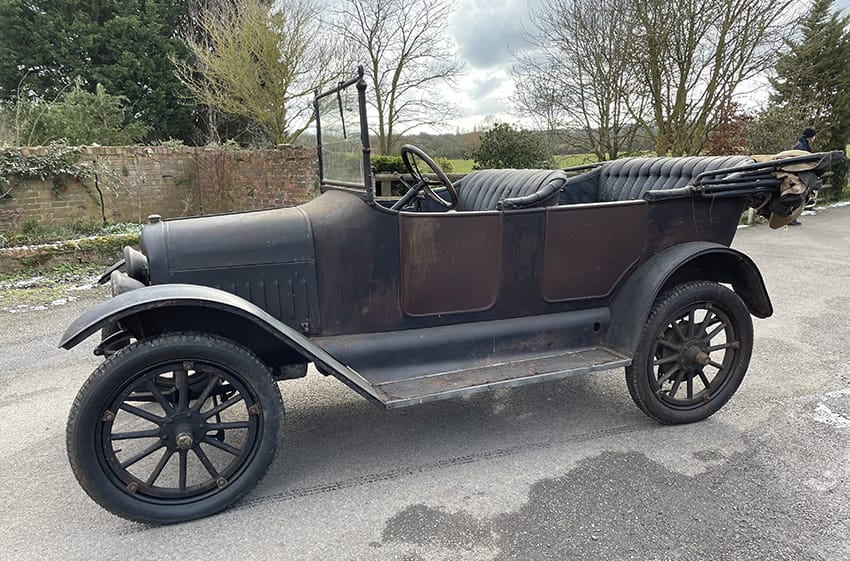 Old rusty Maxwell car in for restoration